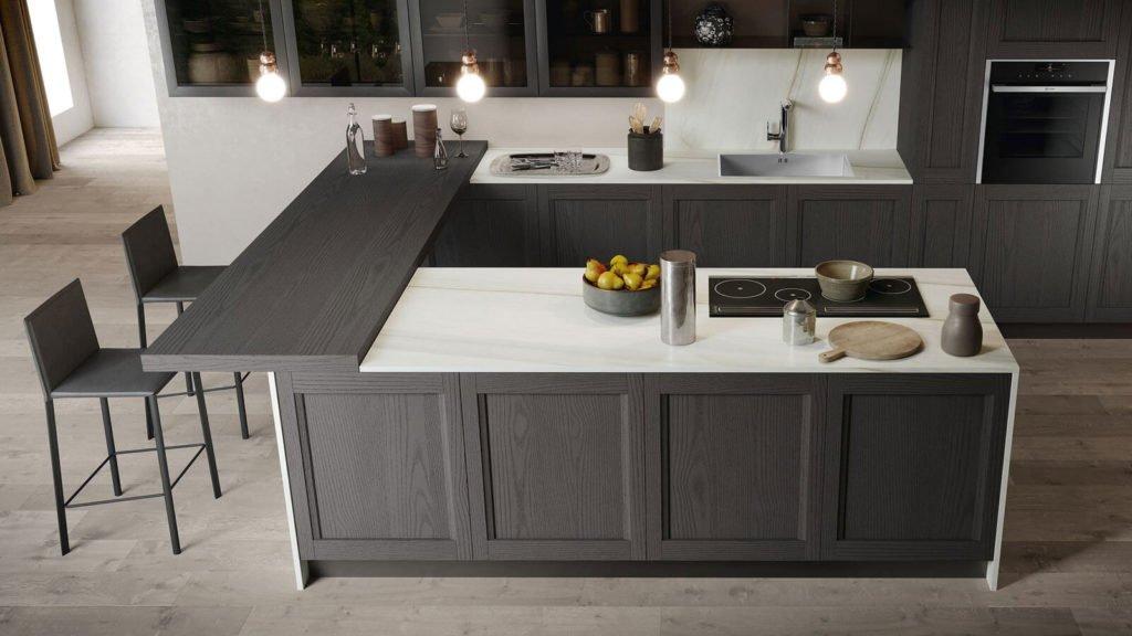 cuisine style industriel bois noir ilot table