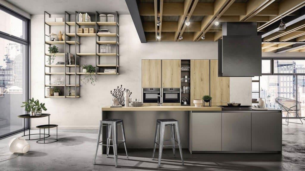 cuisine style industriel bois gris métallisé