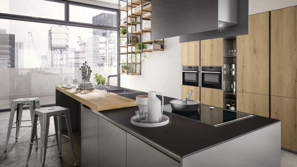 cuisine design style industriel bois gris métallisé