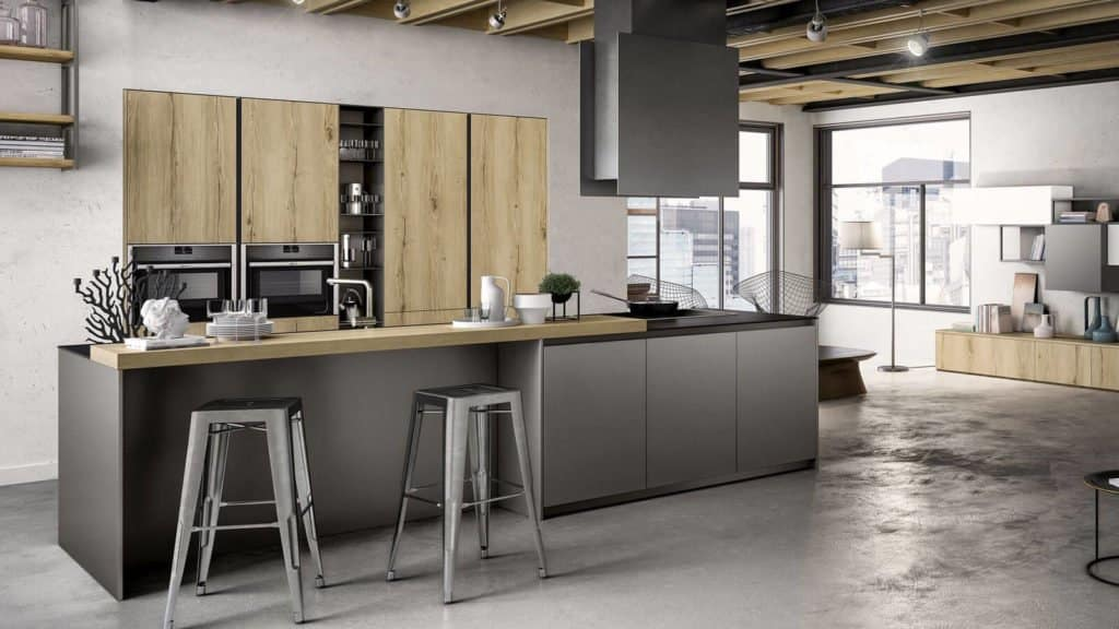 cuisine style industriel bois clair gris métallisé