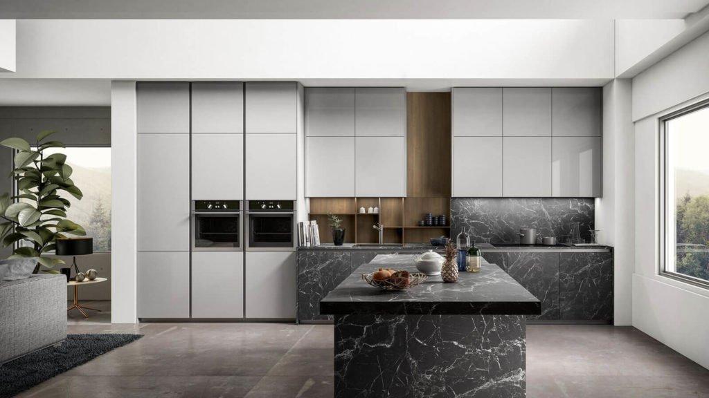 cuisine design marbre noir plan de travail