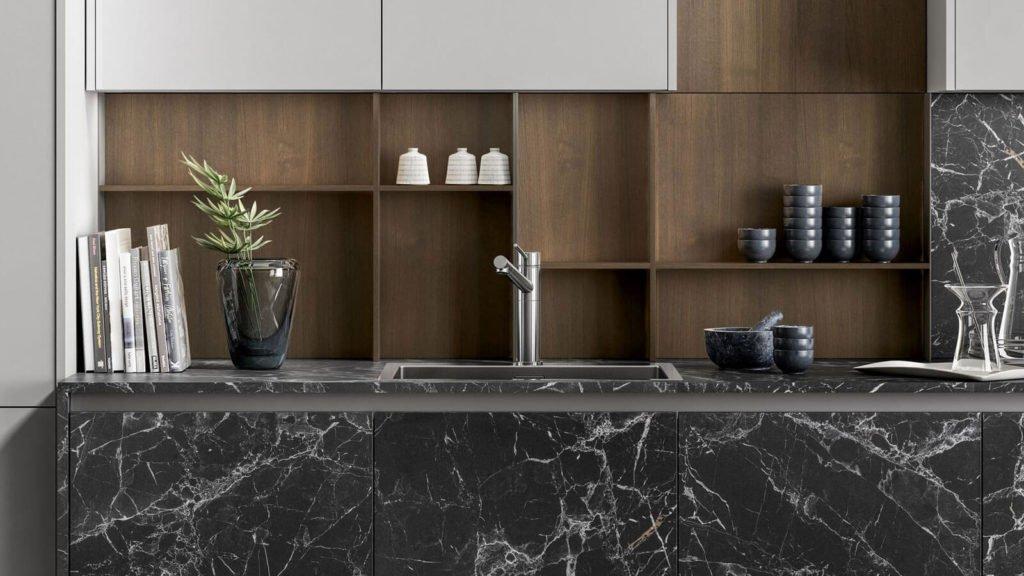 cuisine design marbre noir evier