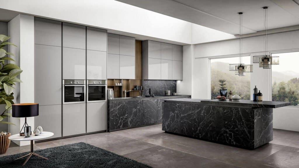 cuisine design marbre noir