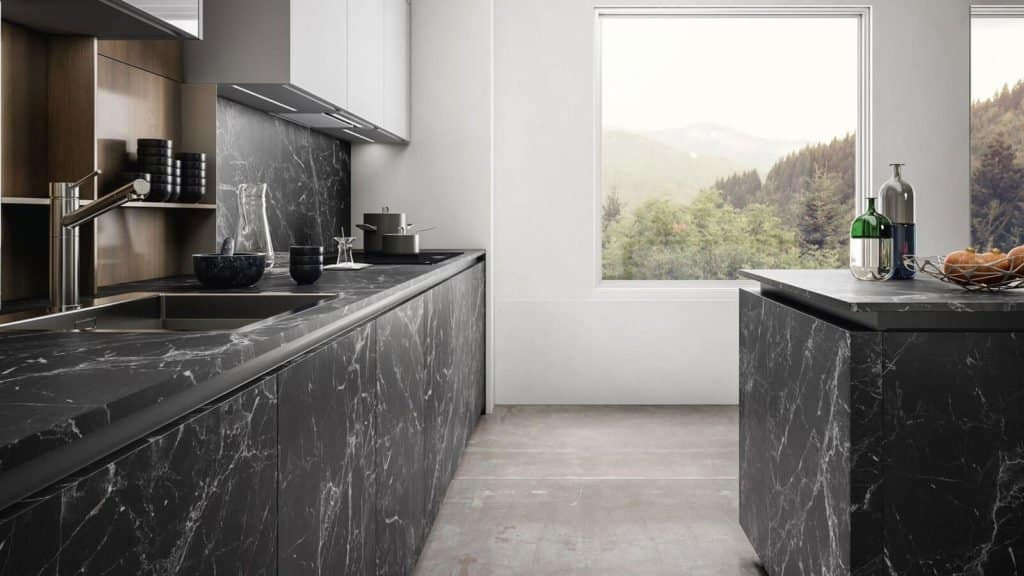 cuisine design noire marbre meubles