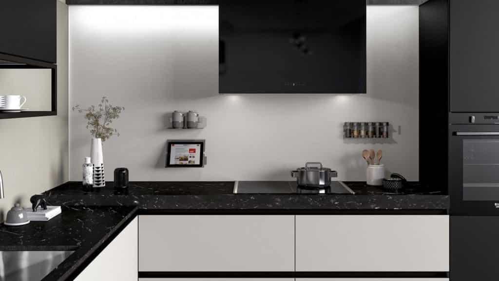 cuisine laquée noire et blanche équipements