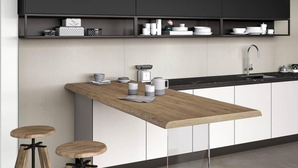 cuisine laquée noire et blanche table bois