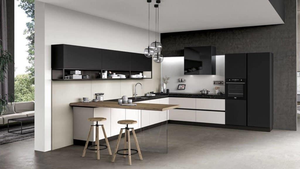 cuisine laquée noire et blanche vue large