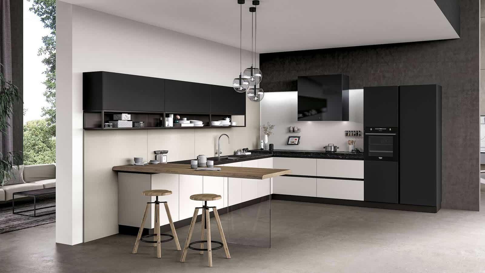Cuisine Noir Et Blanc Mat cuisine noire et blanche design - kumpalo