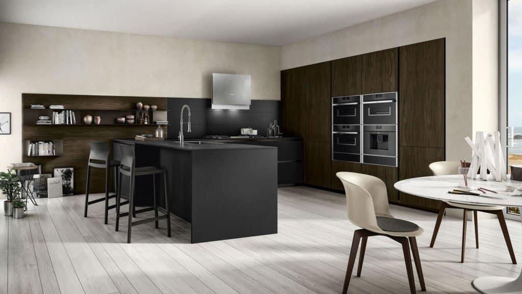 cuisine noire et bois foncé