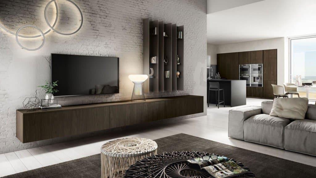 cuisine noire et bois foncé meubles salon associés