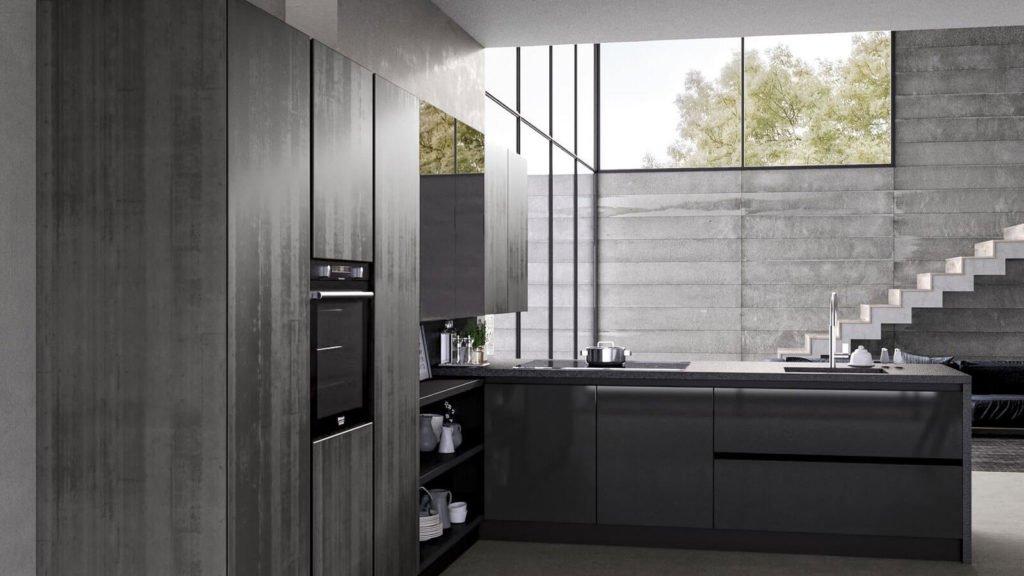 cuisine noire et grise angle