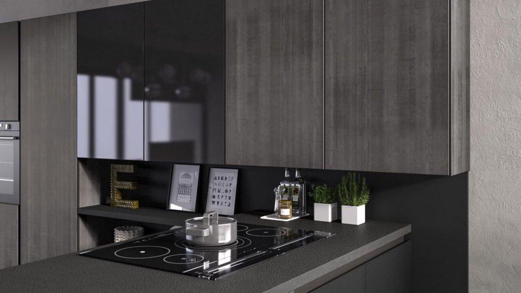 cuisine noire et grise plaques