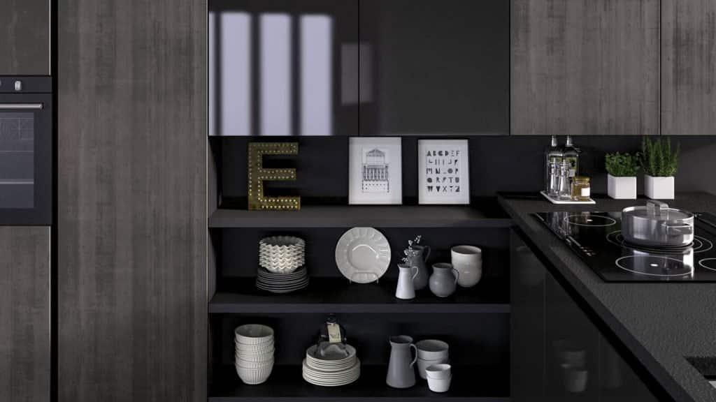 cuisine noire et grise rangements