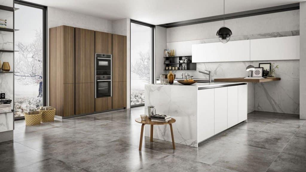 cuisine design blanche marbre et bois