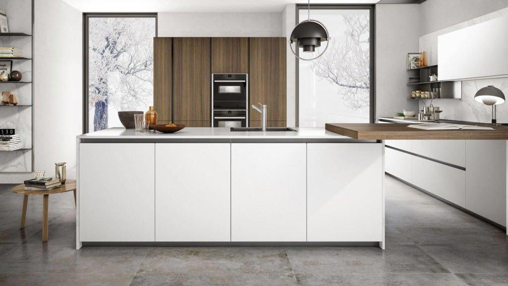 cuisine design blanche et bois avec ilot central