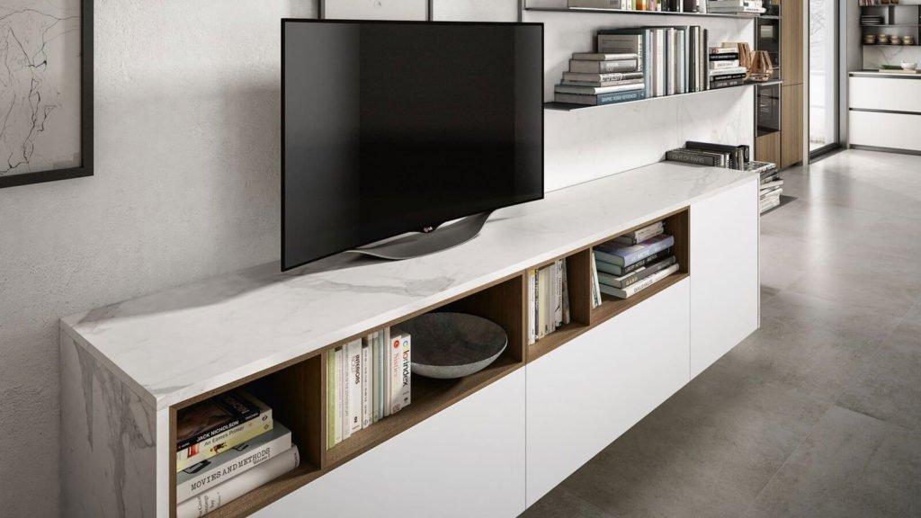meuble télé marbre blanc