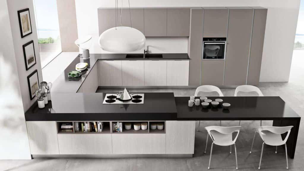 cuisine design laquée plan de travail noir