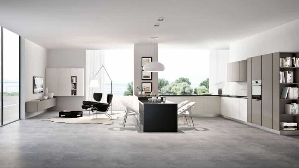 cuisine design laquée salon associé