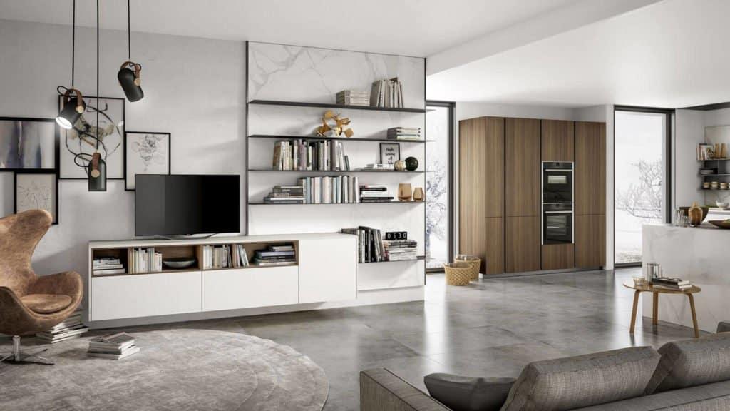 cuisine design blanche marbre et bois salon associé