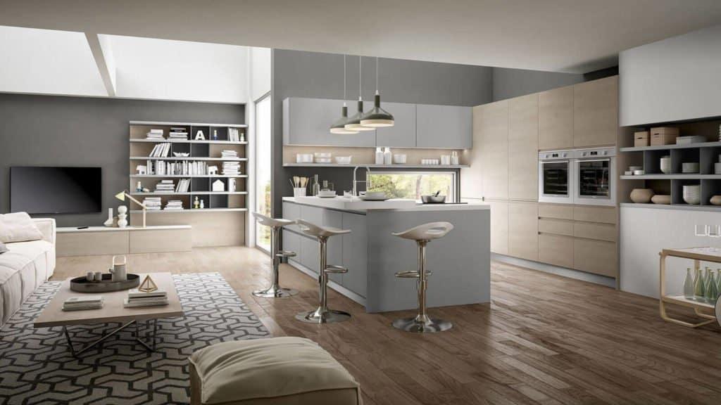 aménagement cuisine américaine design laque grise et bois clair