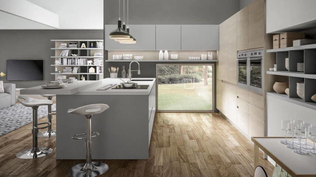 cuisine design laque grise et bois clair