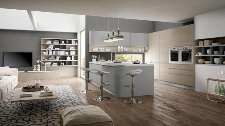 cuisine américaine design laque grise et bois clair