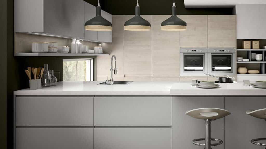 cuisine design laque grise et bois clair plan de travail