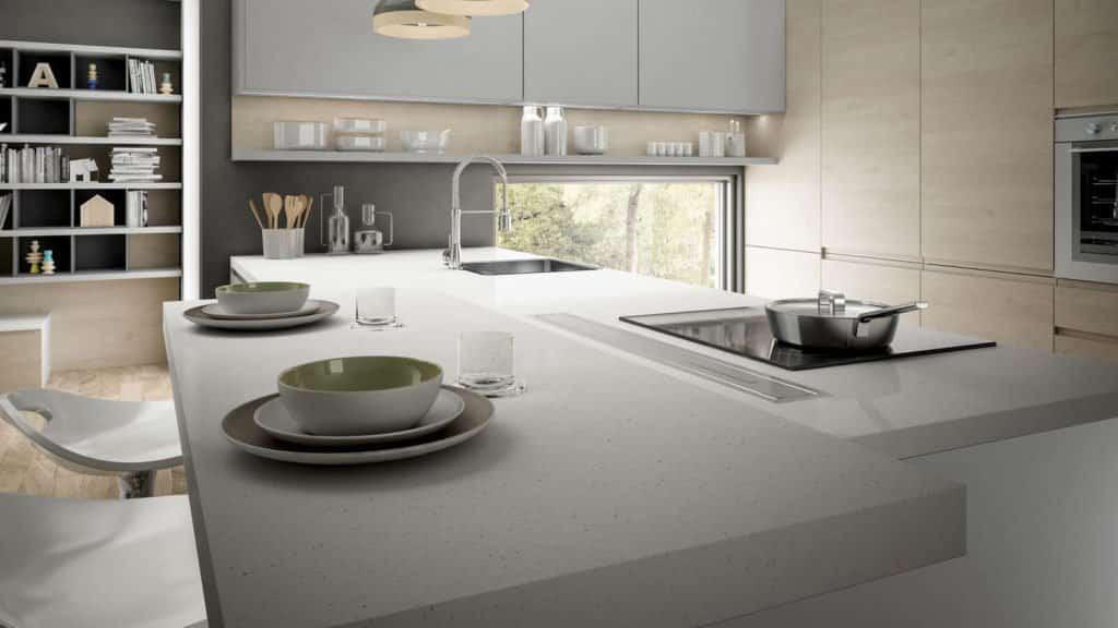 cuisine design laque grise et bois clair bar