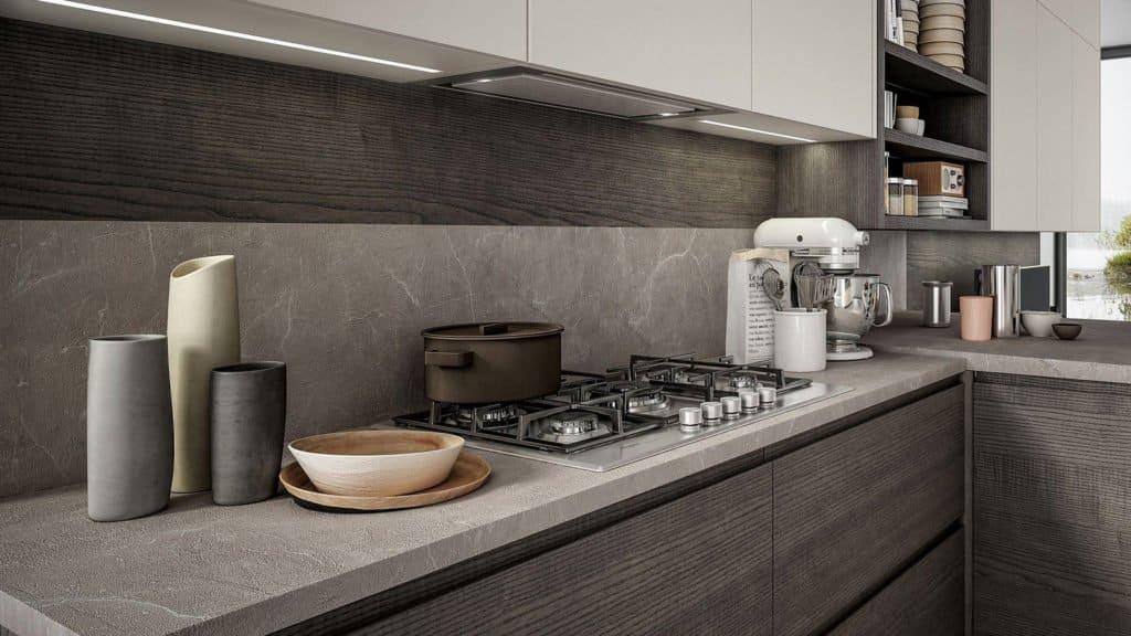 cuisine laquée et bois foncé plan de travail