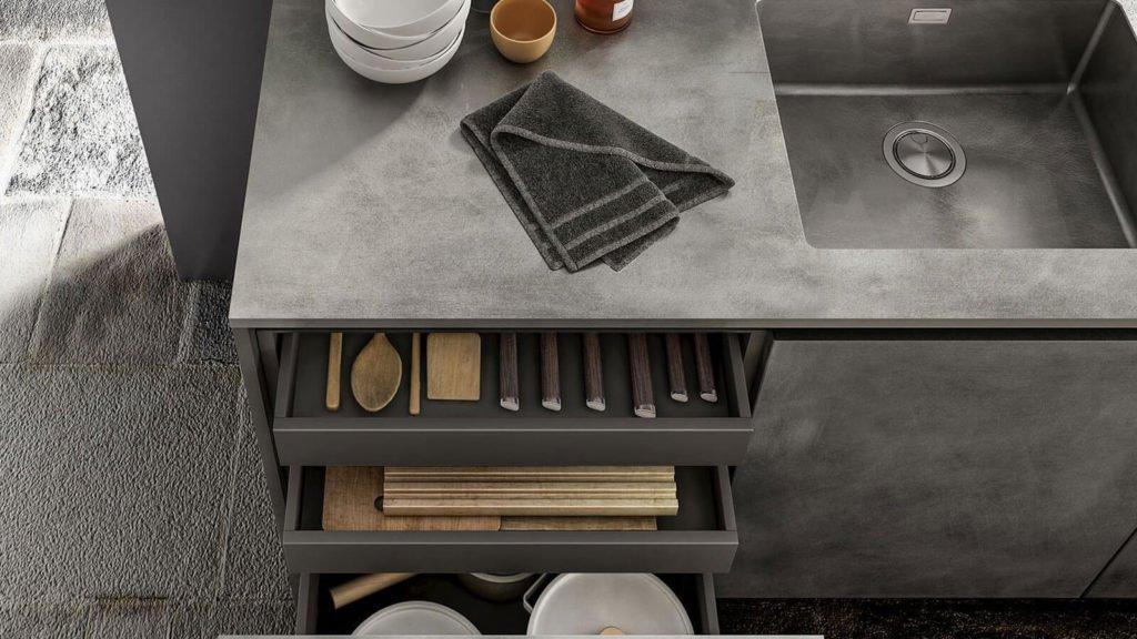 cuisine design béton rangements