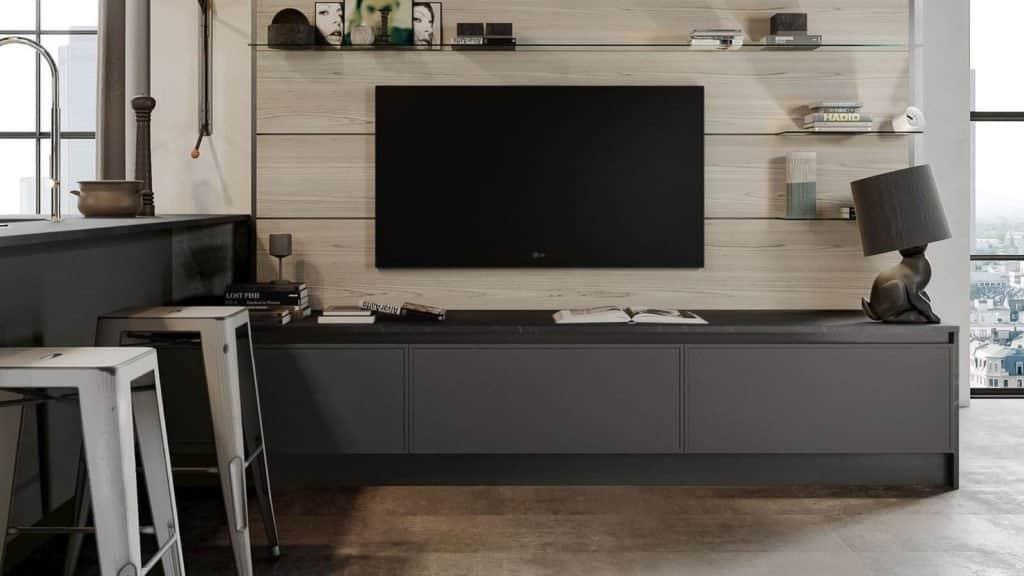 cuisine style industriel ouverte meuble télé