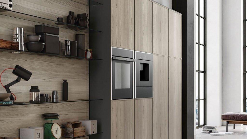 cuisine style industriel ouverte rangements bois