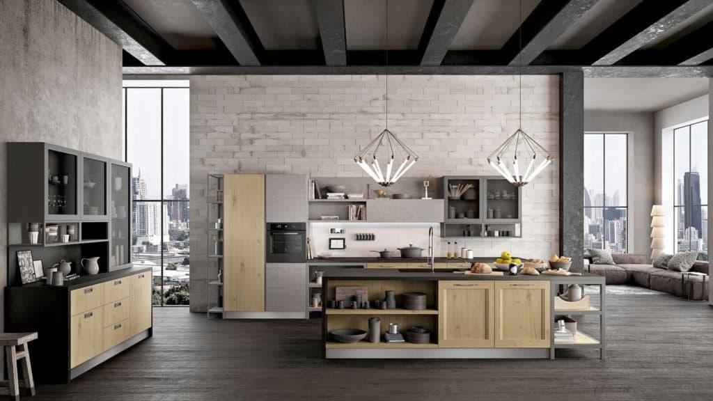cuisine style industriel bois grise