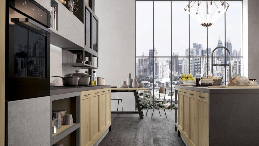 cuisine industrielle grise et bois