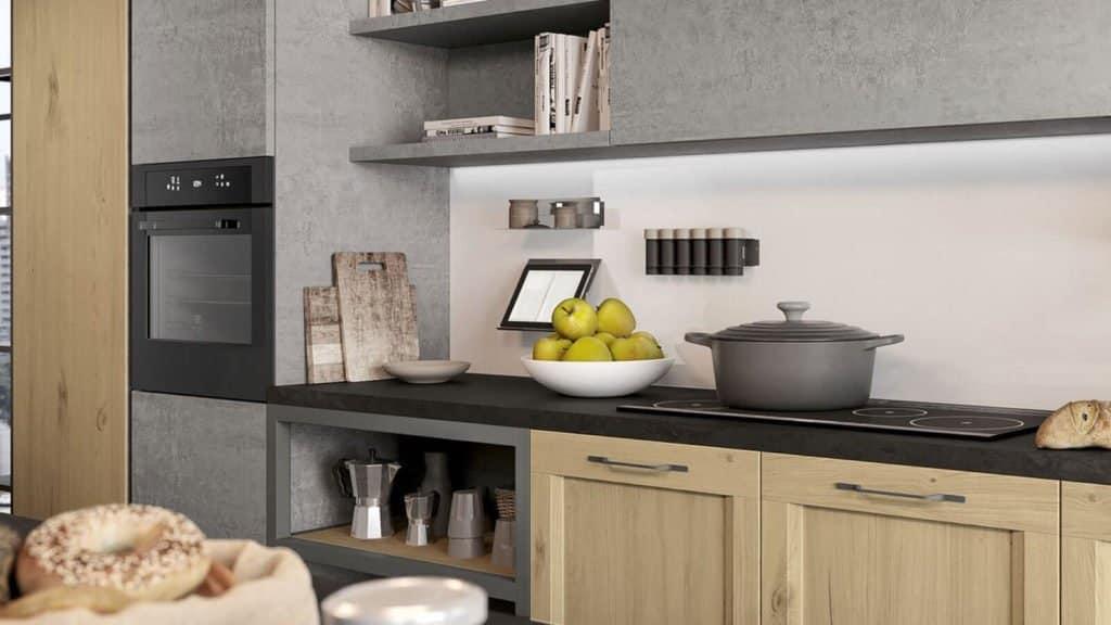cuisine grise et bois plan de travail