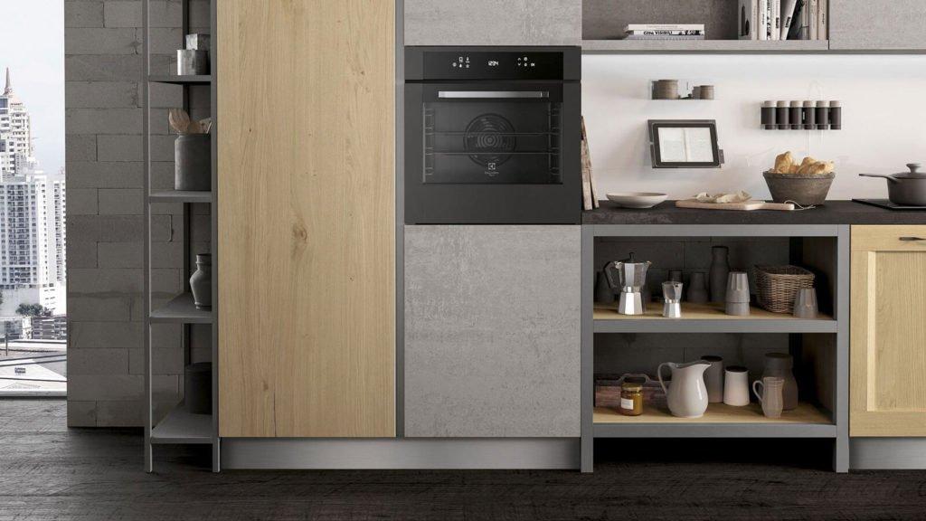 rangements cuisine industrielle grise et bois