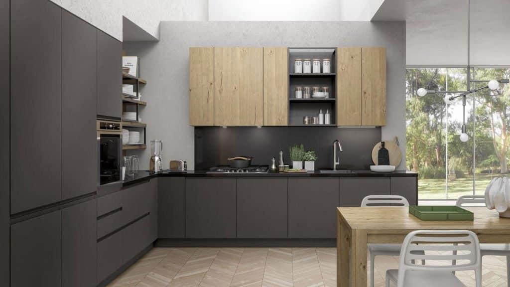 cuisine style industriel bois gris anthracite