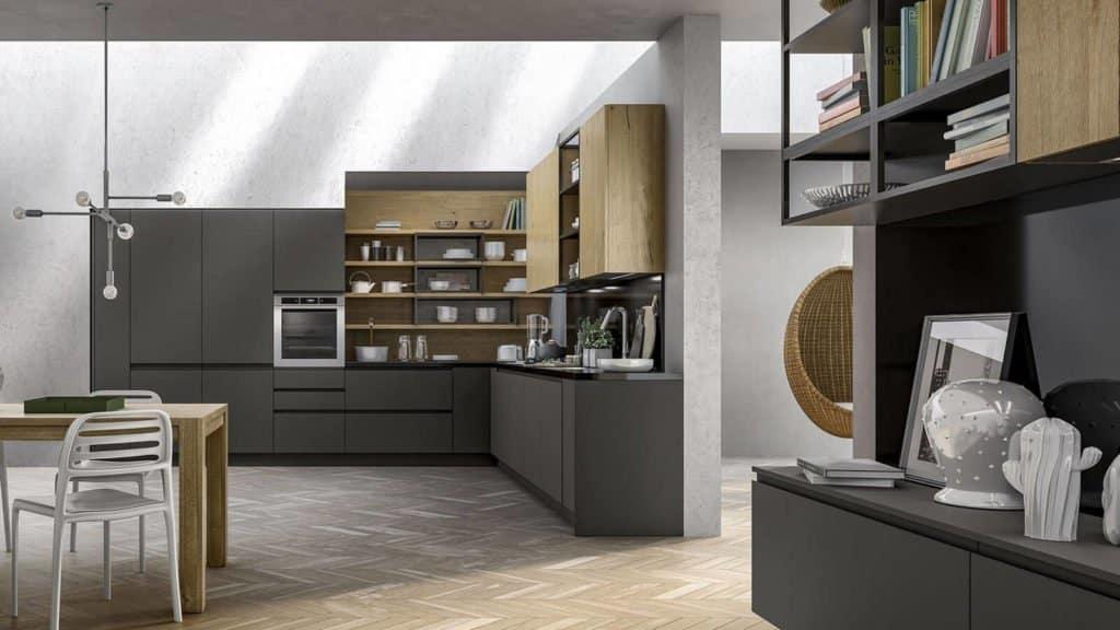 cuisine style industriel gris foncé bois