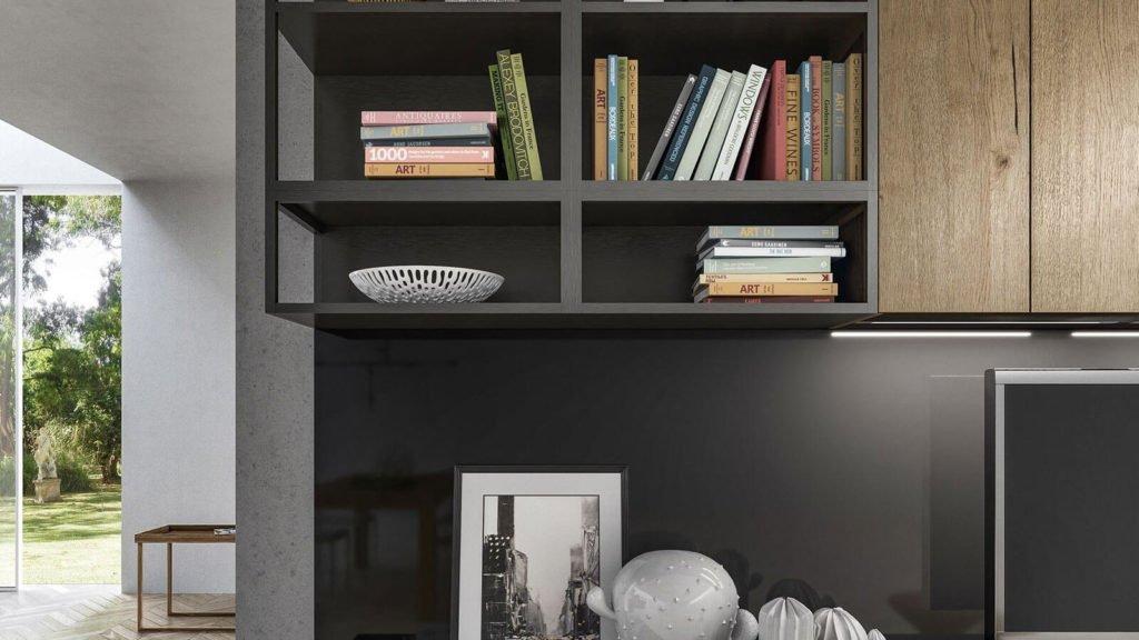 meuble TV style industriel gris foncé bois