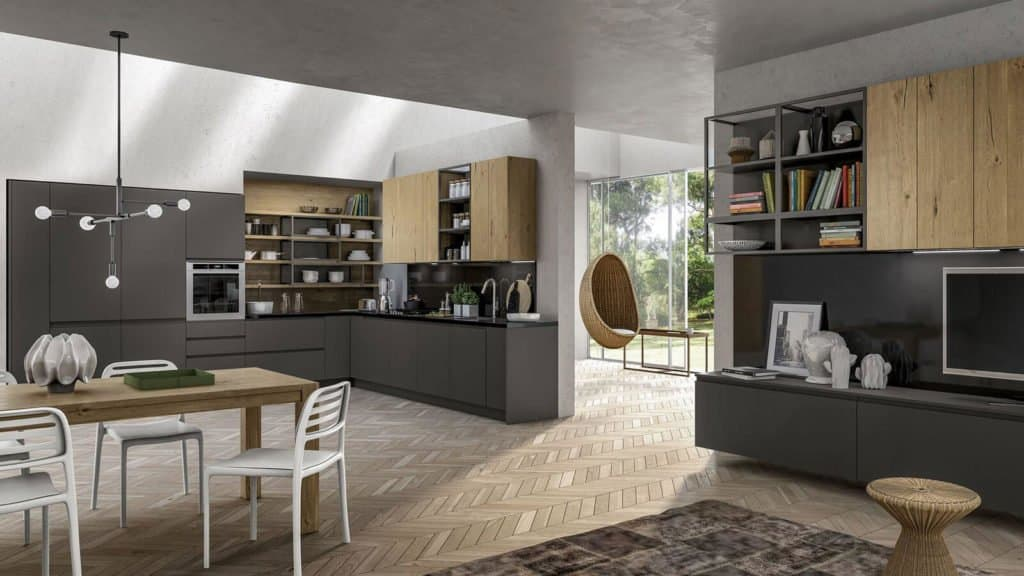 cuisine industrielle et salon coordonné