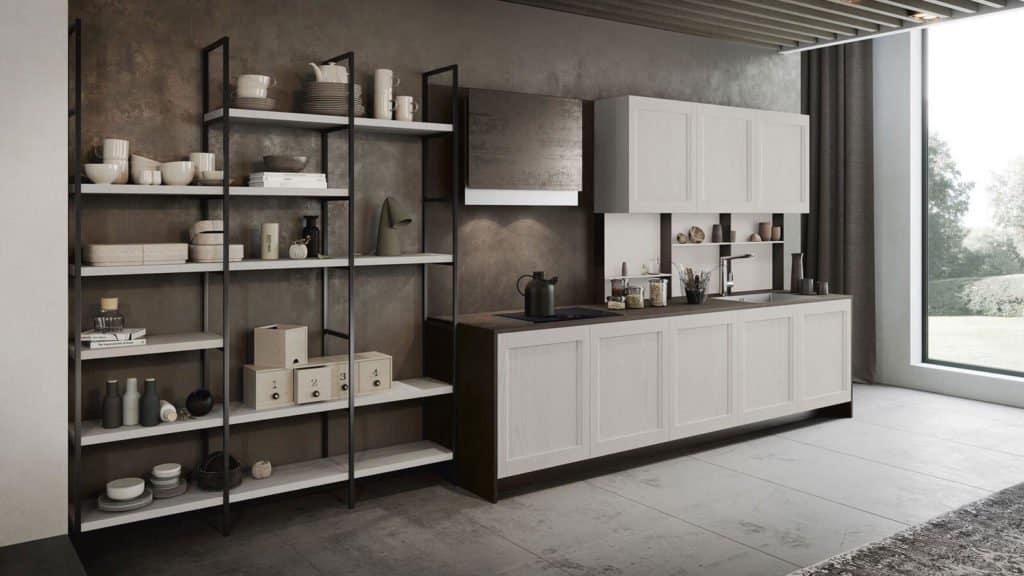 cuisine bois blanc industrielle
