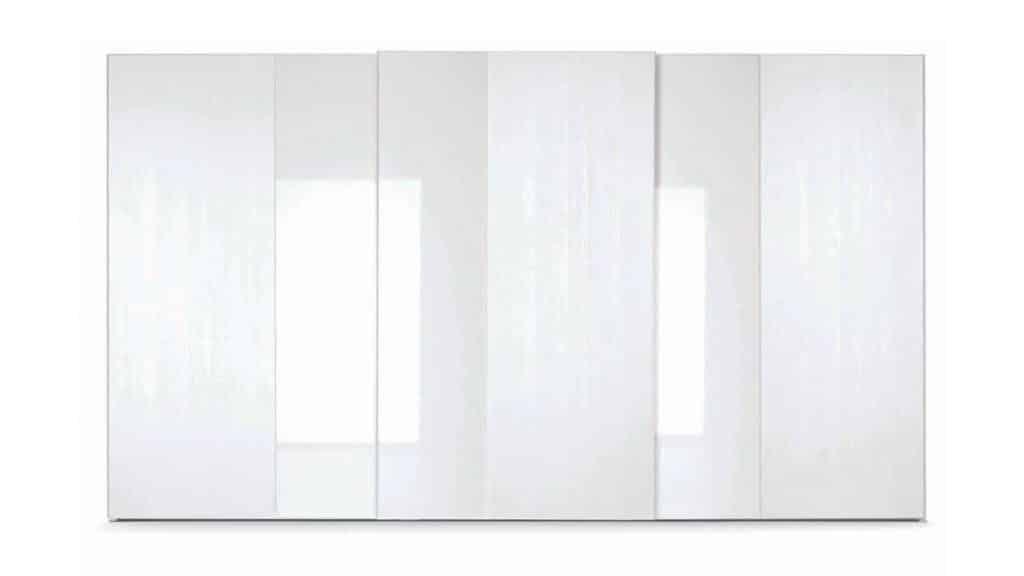 armoire blanche bi matières porte coulissante