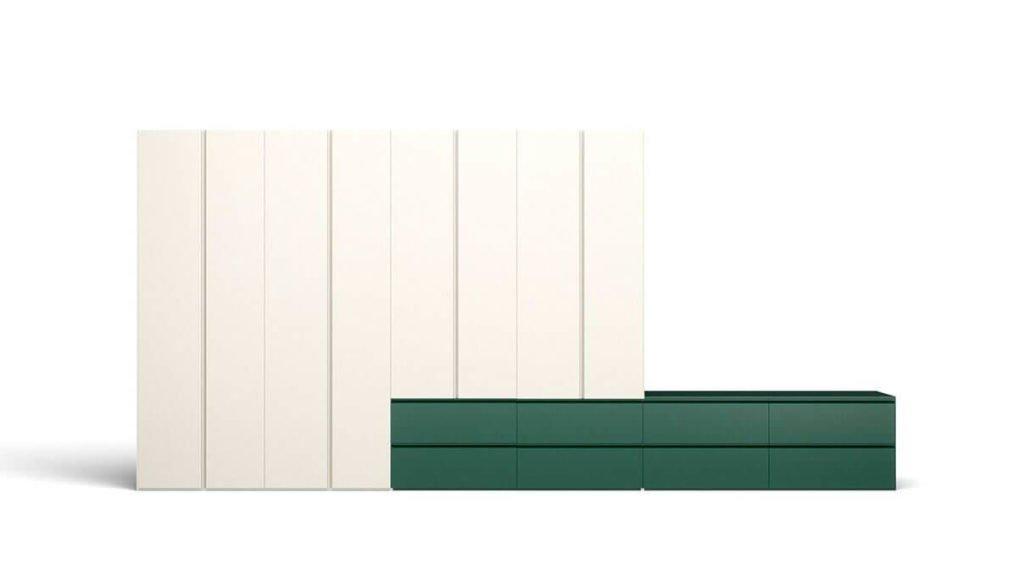 armoire blanche tiroirs verts portes battantes