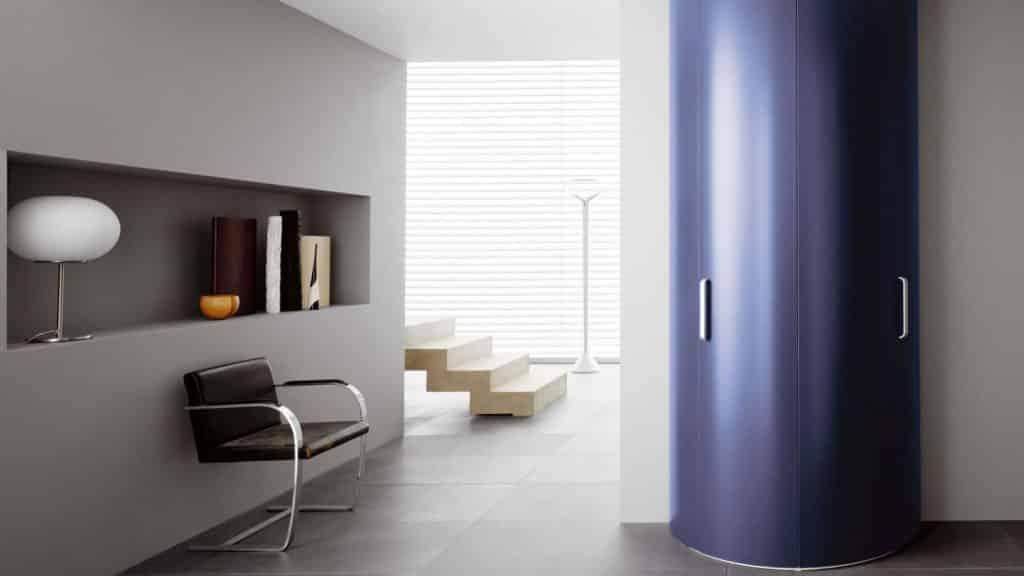 armoire d'entrée ronde bleue portes battantes
