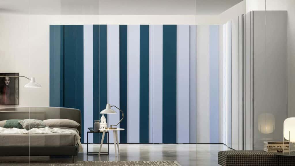 armoire d'angle laque mate plissée bleue