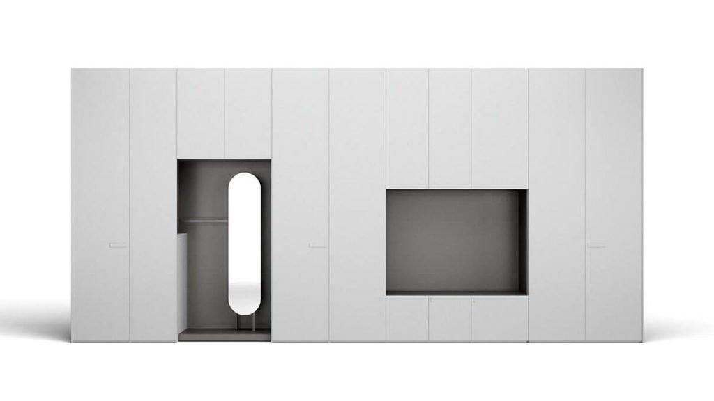 armoire laquée mate grise porte battante