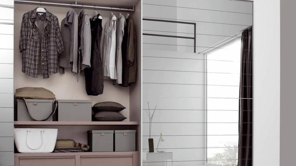 armoire porte coulissante miroir incisé