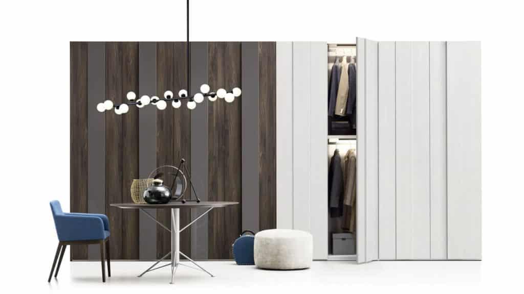 armoire portes battantes plissée bois laque