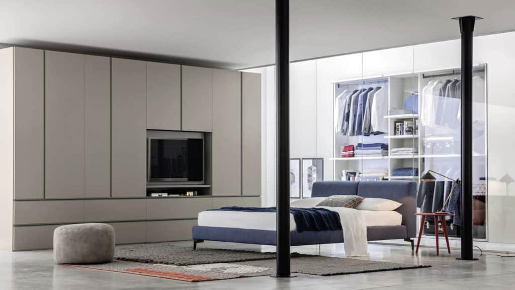 armoire porte battante taupe tv integrée