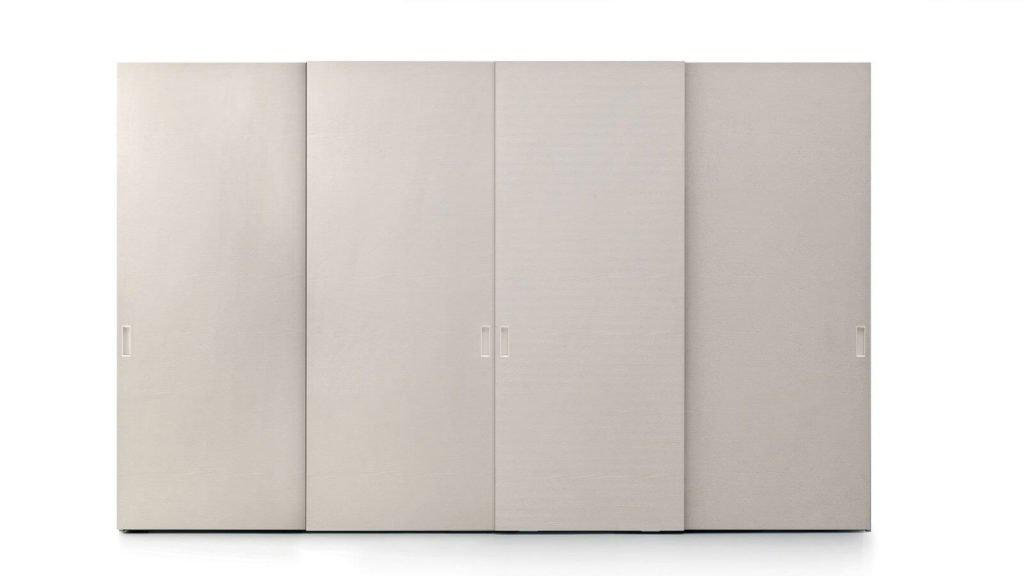 armoire portes coulissantes beige laque mate